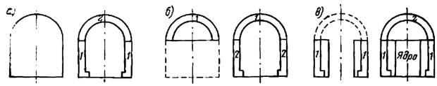 Основные варианты последовательности выполнения работ при постройке тоннеля