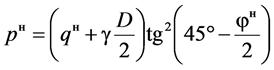 Боковое горное давление определяют на уровне горизонтального диаметра обделки