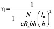 Коэффициент увеличения эксцентриситета для стержней прямоугольного сечения