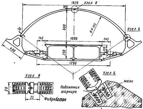Поперечное сечение односводчатой станции с обделкой из сборного железобетона