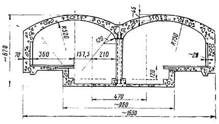Поперечное сечение двухсводчатой станции Нью-Йоркского метрополитена