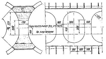 Конструкция проемов и пилонов трехсводчатой станции с обделкой из железобетонных блоков и монолитного бетона