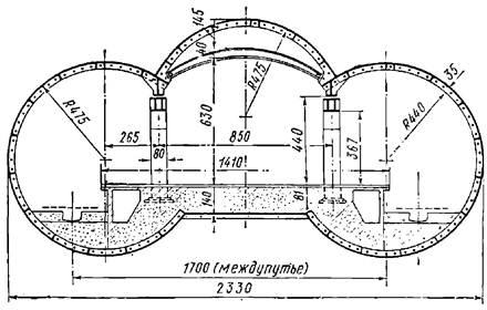 Поперечное сечение трехсводчатой станции колонного типа с обделкой из чугунных тюбингов