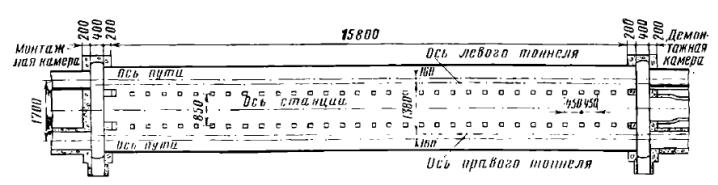 План трехсводчатой станции колонного типа