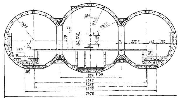 Поперечное сечение трехсводчатой станции колонного типа Московского метрополитена с обделкой из чугунных тюбингов
