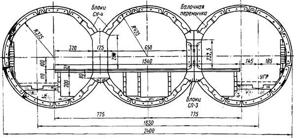 Поперечное сечение трехсводчатой станции Киевского метрополитена с обделкой из железобетонных блоков