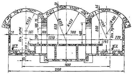 Поперечное сечение трехсводчатой станции колонного типа с обделкой сводов из монолитного бетона