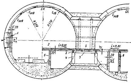Внутренние конструкции трехсводчатой станции пилонного типа