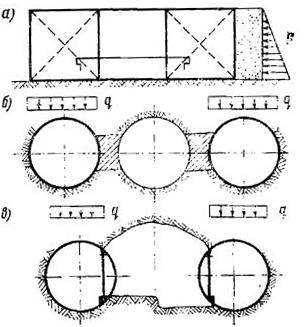 Невыгодные расчетные схемы конструкции станции сооружаемой открытым способом пилонного типа и колонного типа