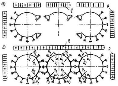 Упрощенные расчетные схемы для проемной части пилонной станции ипилонной части