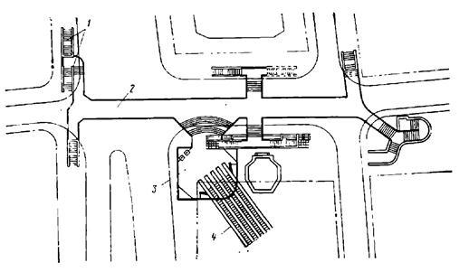 Подземный вестибюль с подходными коридорами станции Площадь Ногина Московского метрополитена