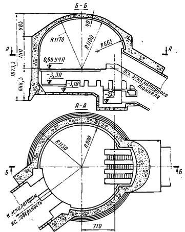 Конструкция промежуточного вестибюля, сооружаемого опускной секцией