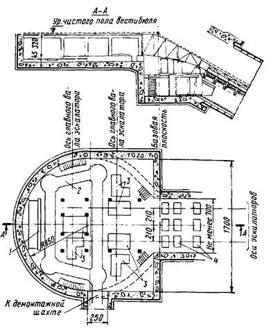 Плац и разрез машинного помещения эскалаторов