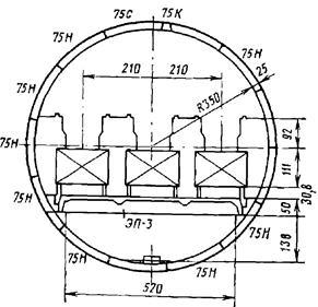Конструкция тоннеля для трех эскалаторов