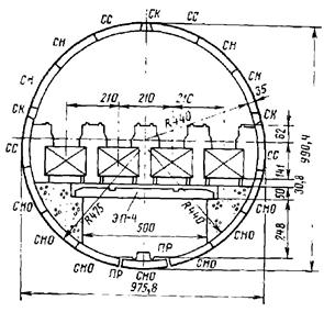 Конструкция тоннеля для четырех эскалаторов