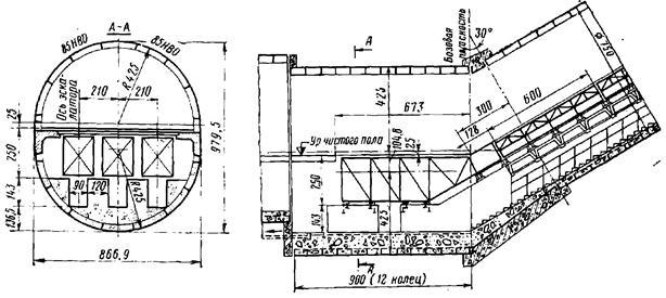 Конструкция натяжной камеры для трех эскалаторов