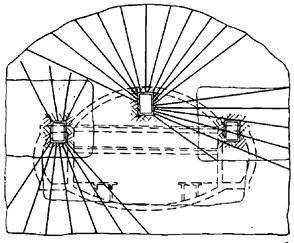 Схема сооружения станции Обер Парижского метрополитена