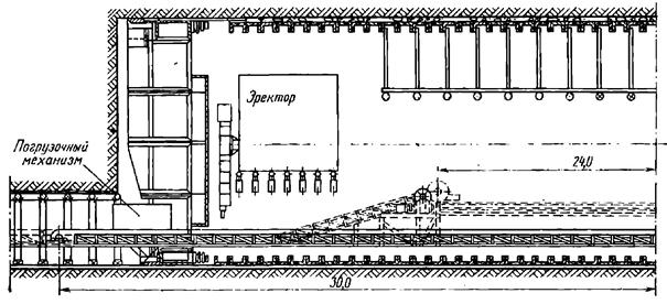 Схема сооружения станционного тоннеля щитом с опережающей штольней