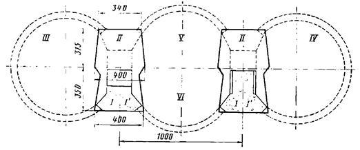 Схема сооружения пилонов до проходки основных тоннелей станции