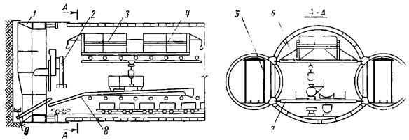 Схема сооружения среднего станционного тоннеля