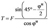 Силу параллельная плоскости выпирания