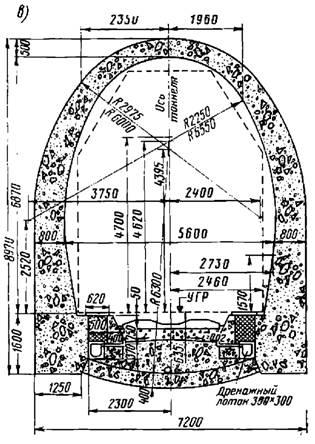 Обделка однопутного железнодорожного тоннеля с обратным сводом