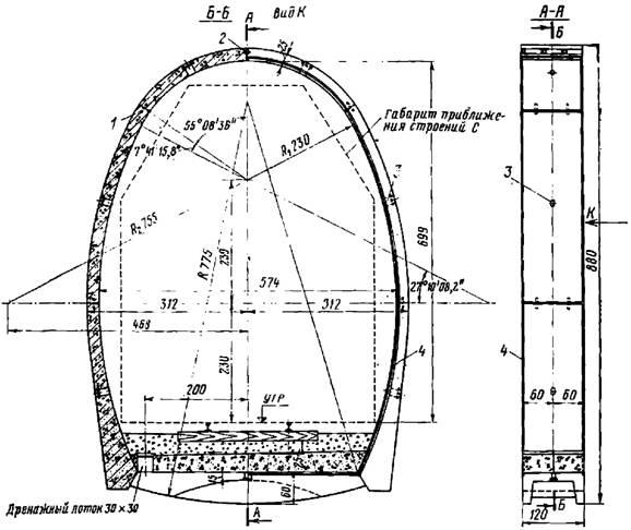 Сборная железобетонная обделка однопутного железнодорожного тоннеля