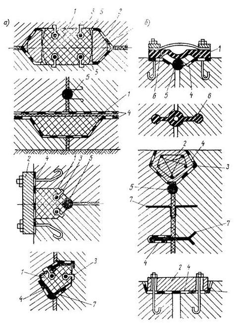 Типы основных уплотнений деформационных швов массивных гидротехнических сооружений
