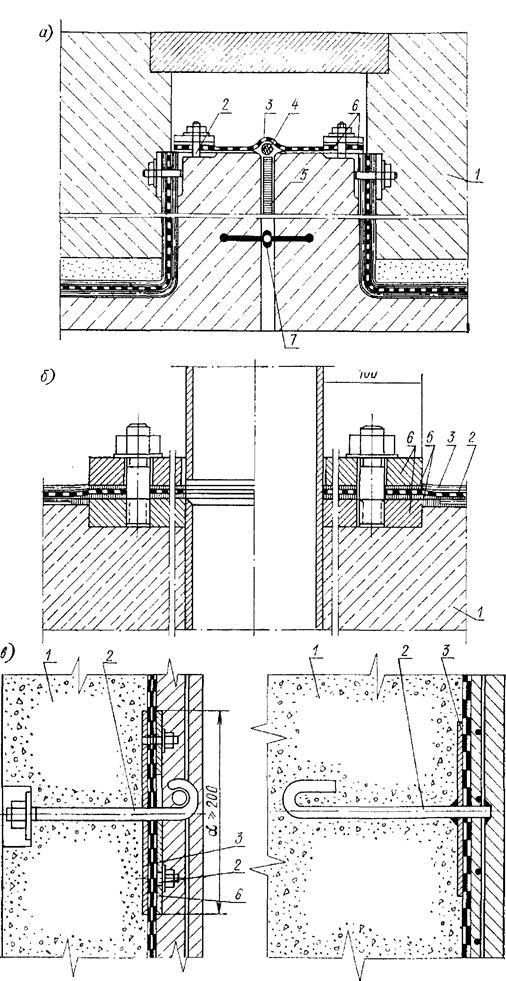 Сопряжения гидроизоляции с закладными деталями