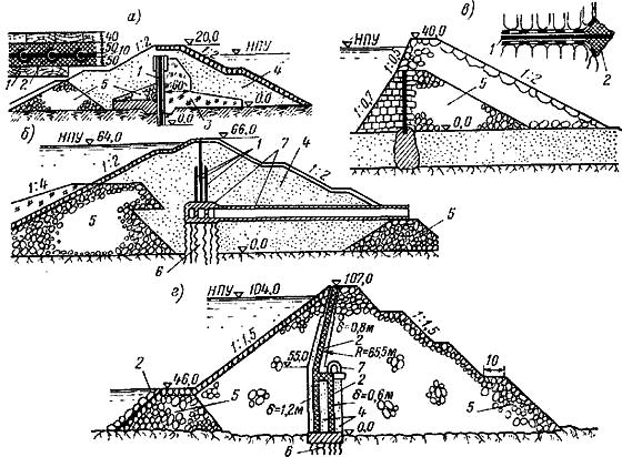 Примеры плотин с внутренними диафрагмами