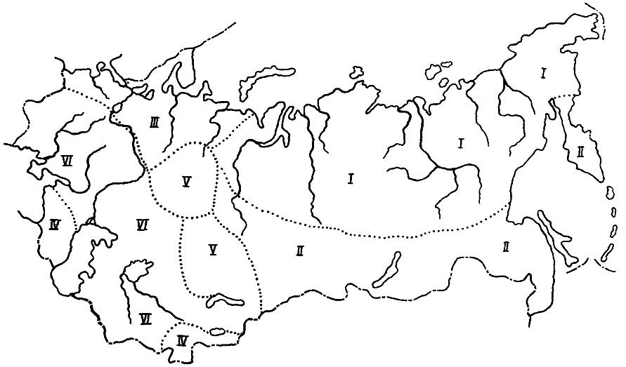 Схема климатических зон гидротехнического и промышленного строительства в Советском Союзе
