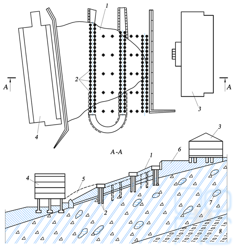 Схема укрепления склона буронабивными сваями