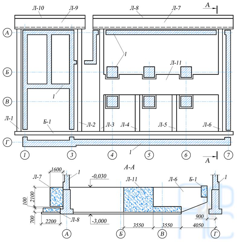 Схема усиления фундамента при сдвиге горных пород