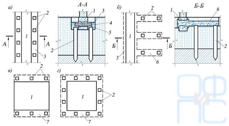 Схемы размещения выносных свай при усилении ленточных и столбчатых фундаментов