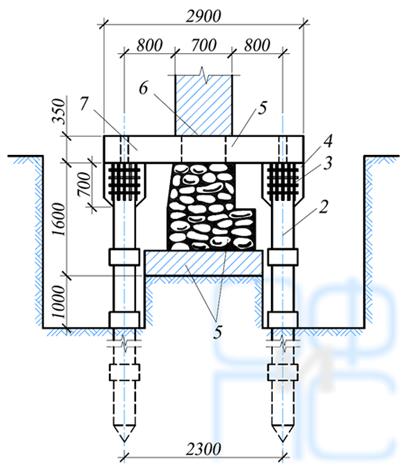 Схема усиления фундаментов с помощью залавливаемых металлических свай