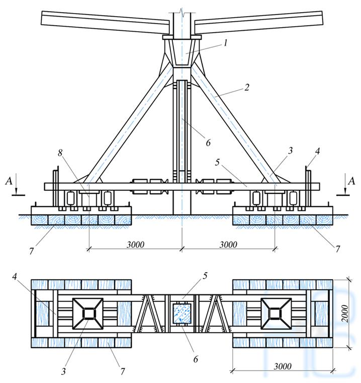Кондуктор подкосной системы с затяжкой
