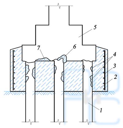 Схема усиления верхних концов железобетонных свай
