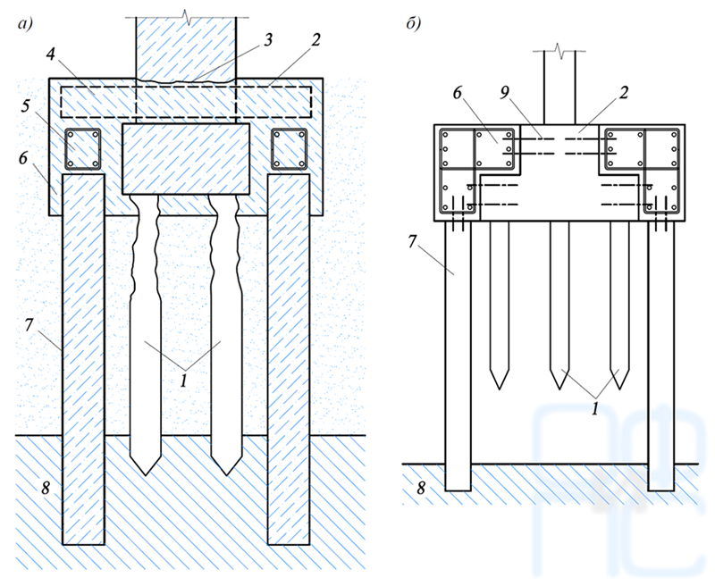 Схема усиления свайных фундаментов путем устройства выносных свай