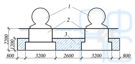 Схема объединения обоймой фундаментов двух вертикальных компрессоров