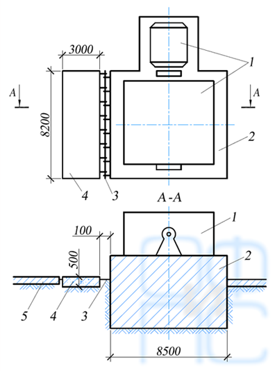 Схема переустройства фундамента дымососа