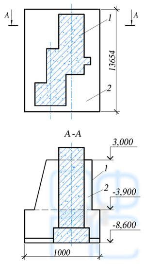Схема усиления фундамента под стержневую мельницу массивной обоймой