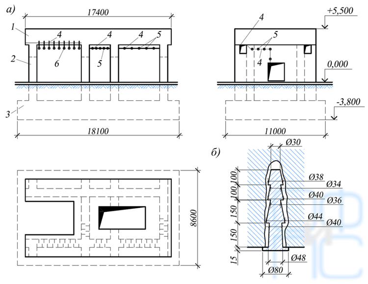 Схема усиления фундамента под горизонтальный компрессор путем склеивания