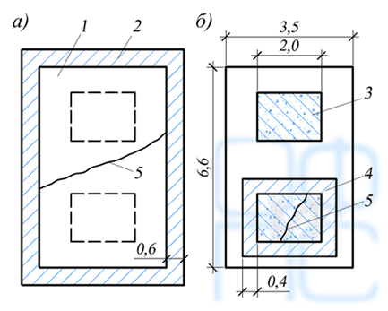 Схема усиления железобетонной обоймой фундамента вертикального компрессора