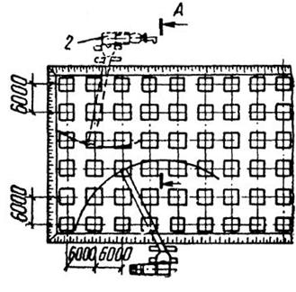 Схема бетонирования фундаментов самоходными бетоноукладчиками