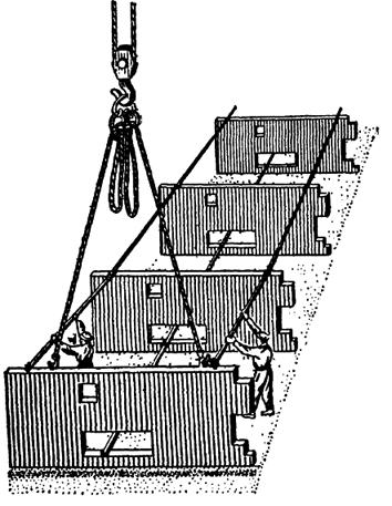 Схема монтажа подземной части полносборного здания штангами с осевыми зажимами