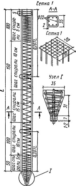 Железобетонная свая квадратного сечения с ненапрягаемой арматурой