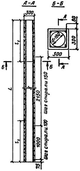 Железобетонная свая квадратного сечения с круглой полостью