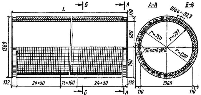 Железобетонная свая-оболочка диаметром 1600 мм с предварительно-напряженной арматурой