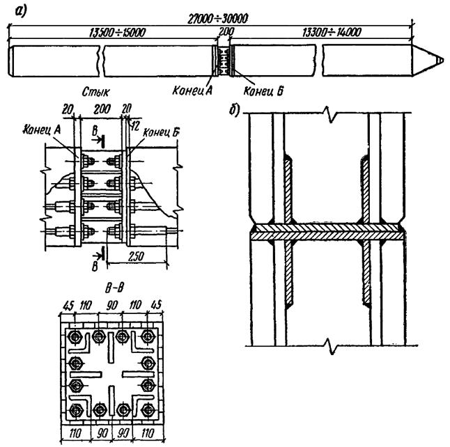 Конструкция стыков составной сваи сплошного квадратного сечения