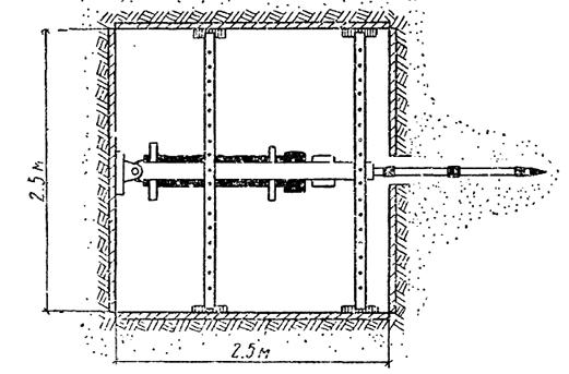 Схема шурфа и механизма задавливания инъекторов